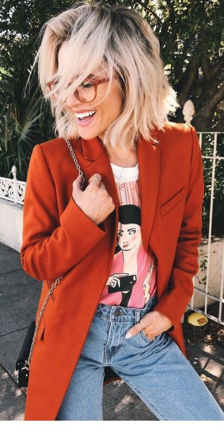 Cool coat, printed top and jeans