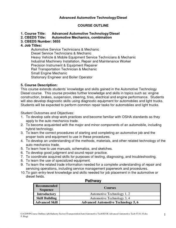 mechanic resume skills