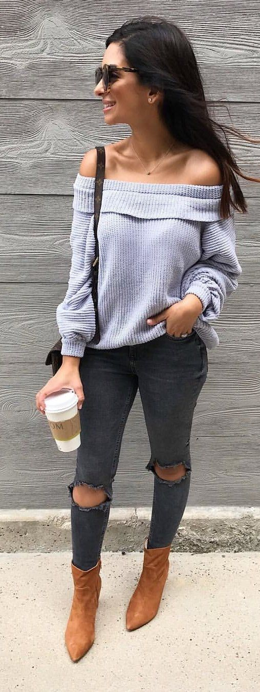 gray off-shoulder sweater