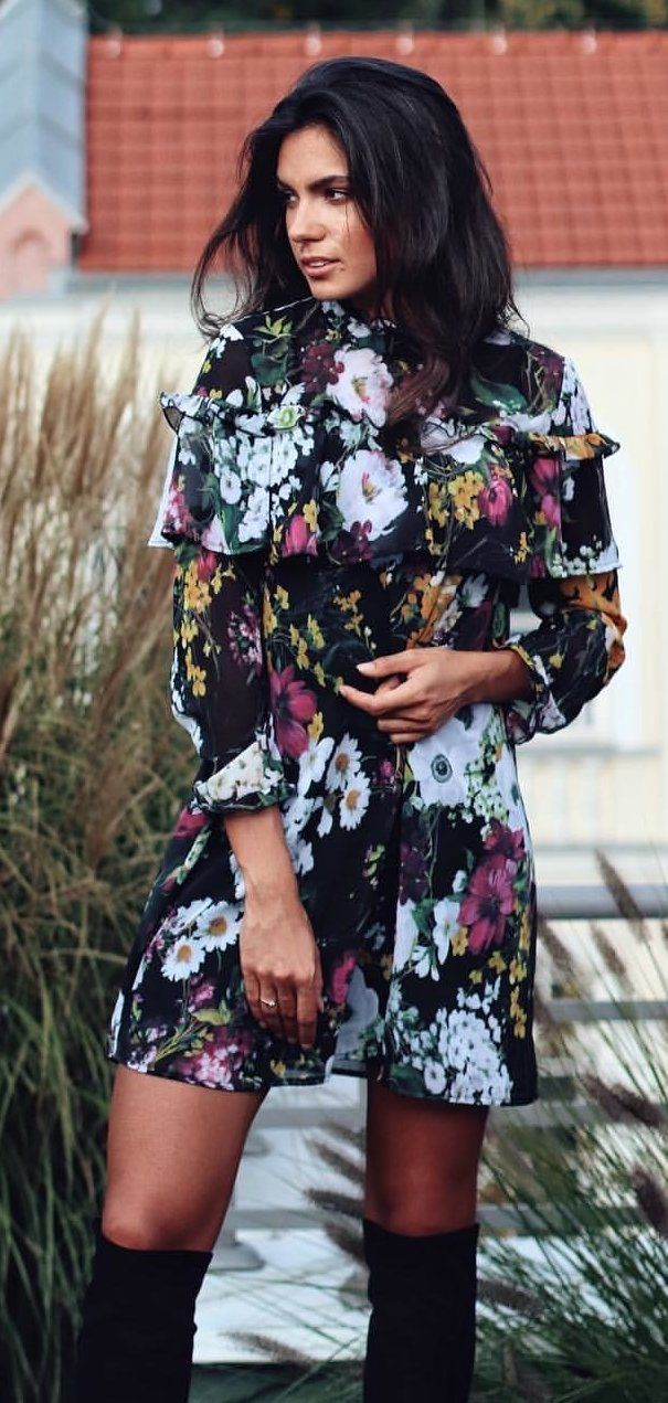 black, pink, and green floral dress #spring #outfits