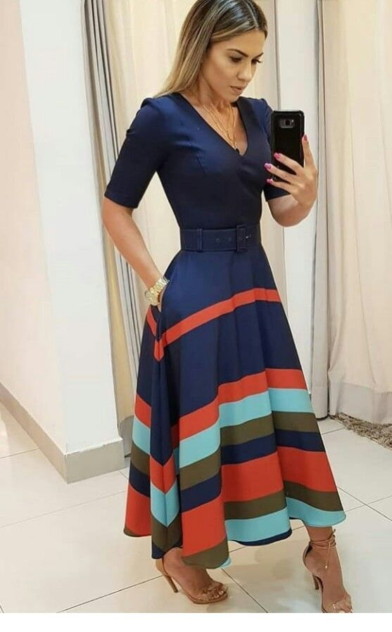 Nice navy dress with colorful lines