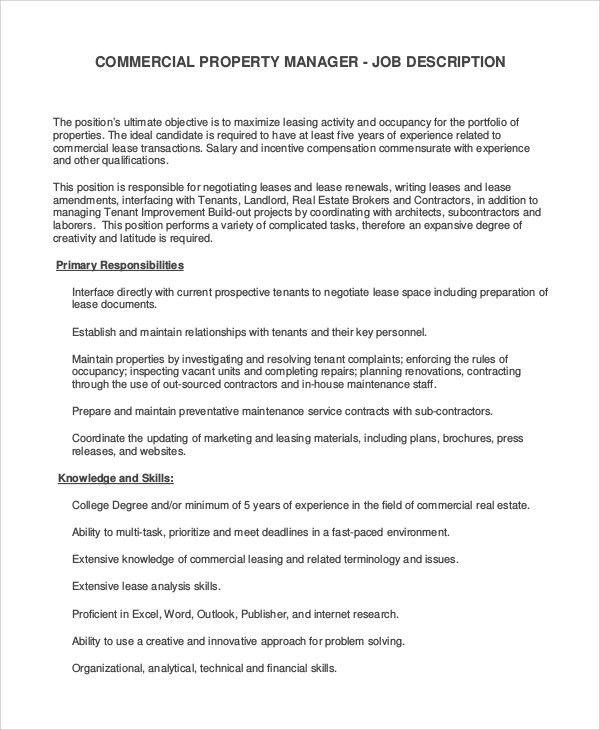 Real Estate Property Manager Job Description Addresses And - assistant manager job description