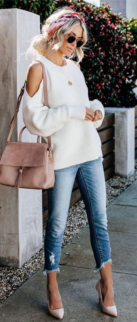 white cold-shoulder top #spring #outfits