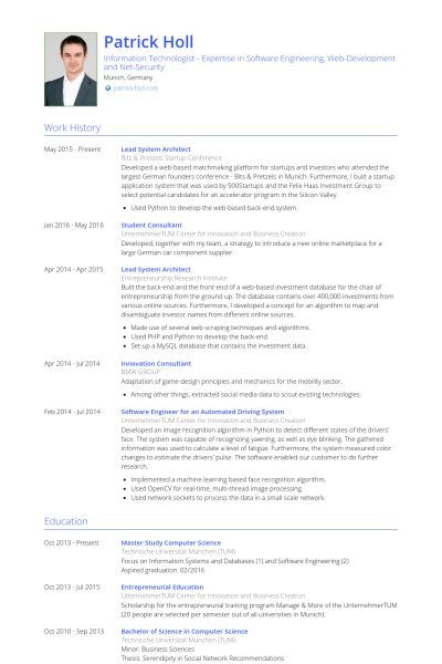 Contemporary System Architect Resume Sample Collection
