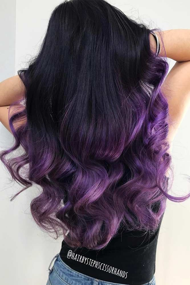 Deep Purple Highlights In Black Hair #longhair #ombrehair ★ Purple hair is something that every girl who loves being different should try in her life. And if you think that such a bright color is not for you, we will show you how you can make it work for your image. Amazing lavender highlights, light lilac balayage, deep purple ombre, pastel looks, and ethereal aesthetic of purple color are waiting for you! #glaminati #lifestyle #purplehair