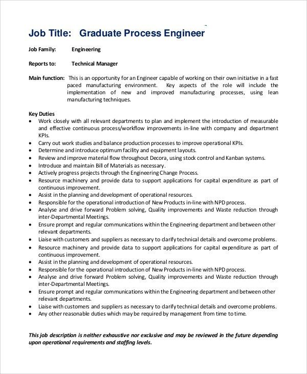manufacturing engineering job description download production process engineer job description