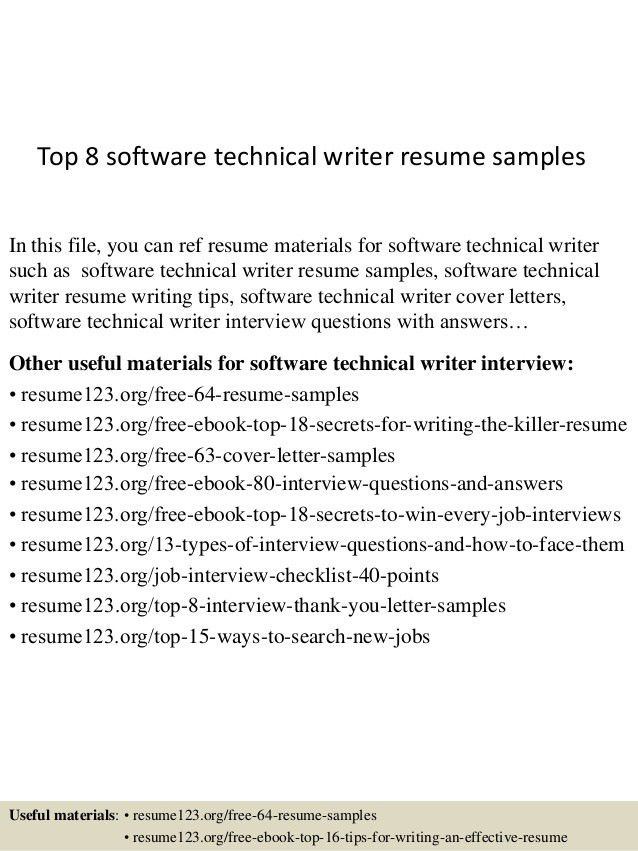 Technical Writing Resume Examples - Examples of Resumes