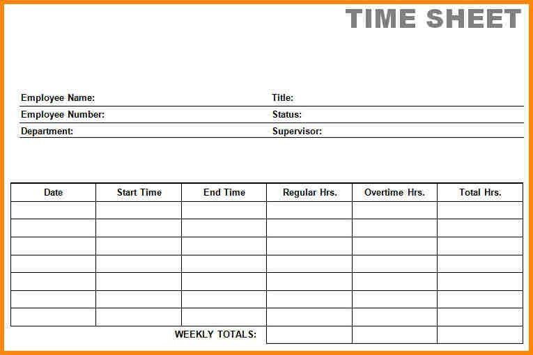 Free Blank Time Sheets  Free Blank Time Sheets