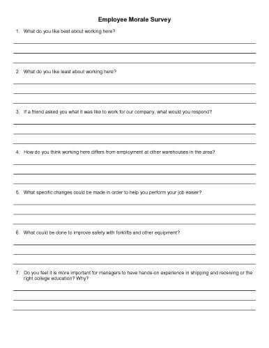 Employee morale questionnaire sample 30 sample survey templates in.