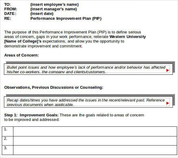 Work Improvement Plan Template 40 Performance Improvement Plan - performance plan