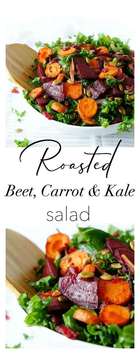 This gluten-free, vegan & paleo Roasted Beet & Carrot Kale Salad is not only pretty to look at, it's also bursting with flavour and nutrients! The perfect salad for entertaining during the holidays!