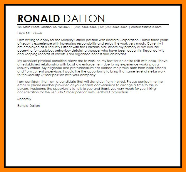 Whelan security officer cover letter - whelan security officer sample resume