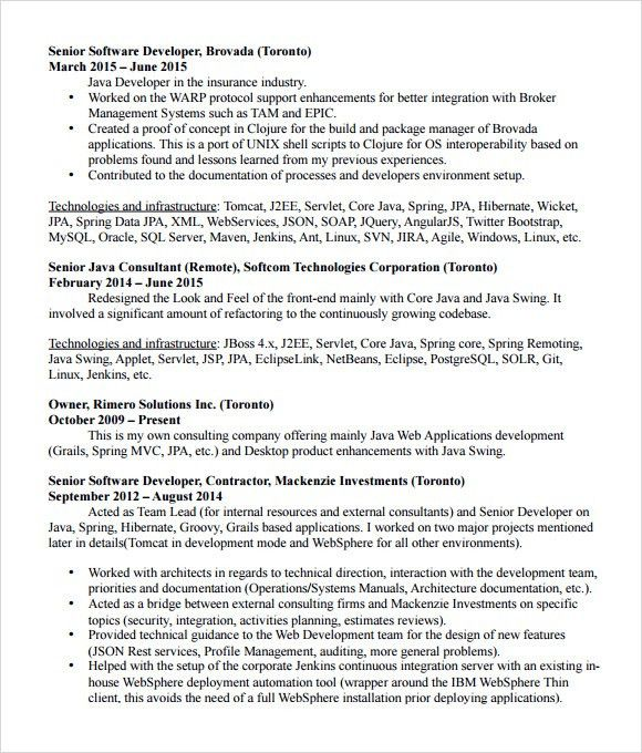 Software Developer Resume Examples Software Developer Free Resume - senior software engineer resume