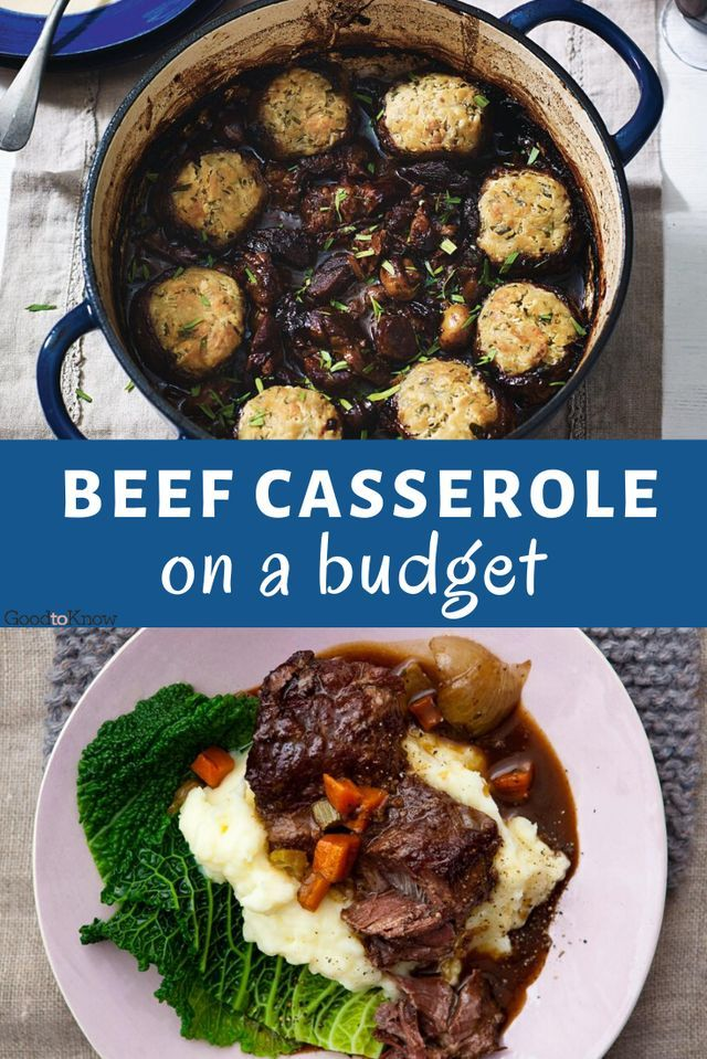 This hearty beef casserole recipe is a classic, affordable recipe - perfect if you're cooking for a big group on a budget. Packed with tender cuts of beef, veggies and a rich gravy, it's topped with dumplings for the ultimate supper. his hearty beef casserole uses an inexpensive cut of beef and so needs long slow cooking on the hob or in the oven or a slow cooker to make it tender. Serve with creamy mash and veg. #beefcasserole #slowcookerrecipes #budgetrecipes #easywinterdinners #winterwarmers