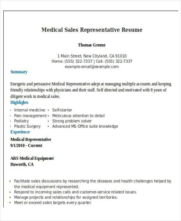 Medical Sales Resume Sample Medical Sales Resume Example Sample  Medical Sales Resume Examples