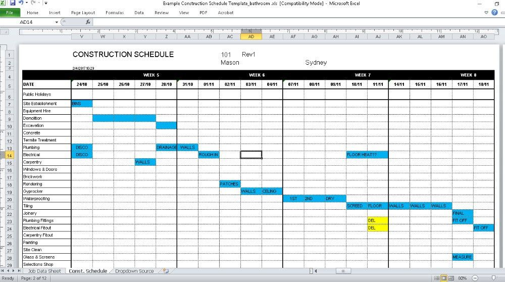 Construction Schedule Template Construction Schedule Template - construction schedules templates