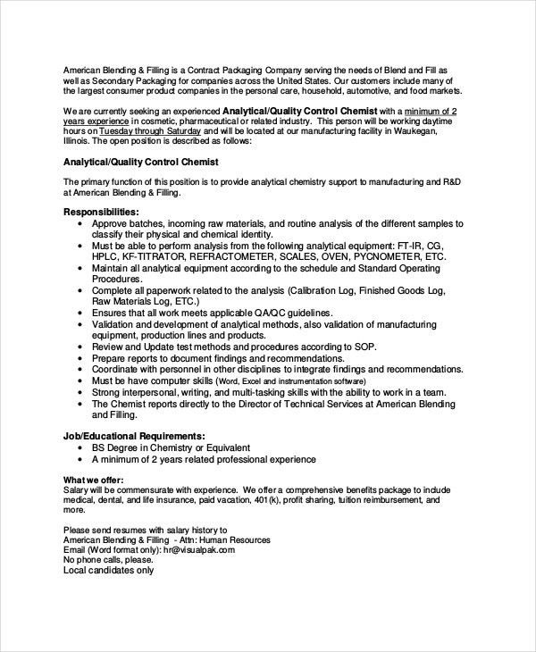 Qc Chemist Jobs Rd Chemist Qc Chemist Job Opportunity 2017 Jobs - quality control job description