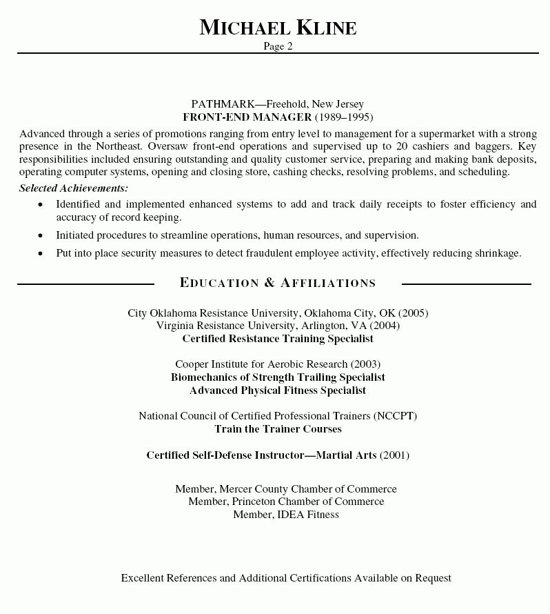personal trainer resume objective statement - Selo.l-ink.co
