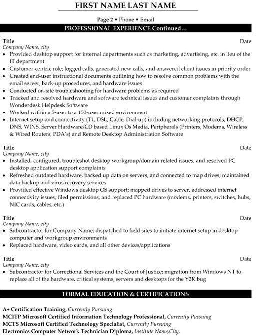 desktop support sample resume support technician resume download
