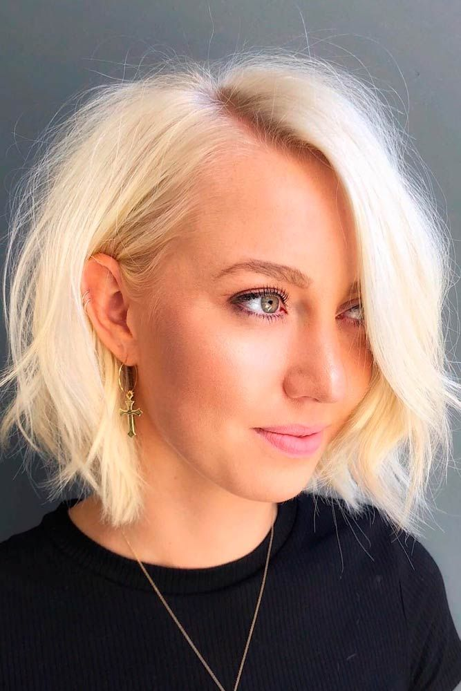Bright Blonde Bob For Fine Hair #finehair #blondehair ★  Short hairstyles for round faces are in trend! If you have blonde hair and a round face, check out these 40 hairstyle ideas. #glaminati #lifestyle #shorthairstylesforroundfaces