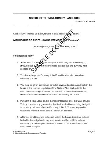 Commercial Lease Termination Letter To Landlord Lease Termination - sample lease termination letter