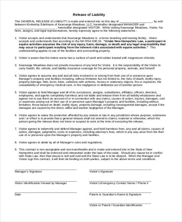 Equine Release Form acknowledment and release form - vehicle release form