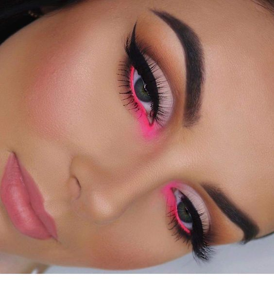 Sweet pink makeup with some neon