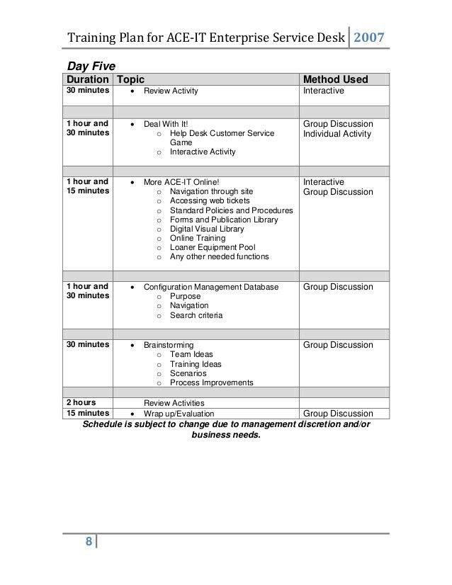 Training Plan Template Training Plan Template 16 Download Free - service plan templates