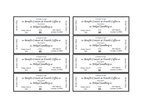 Benefit Ticket Template Ticketcreator Create Design And Print - blank ticket template