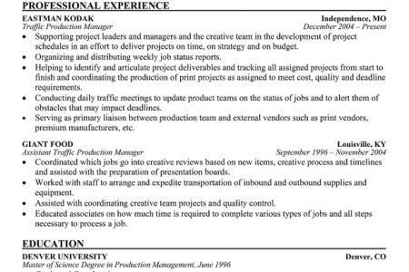 traffic production manager resume production manager resume broadcast traffic manager cover letter