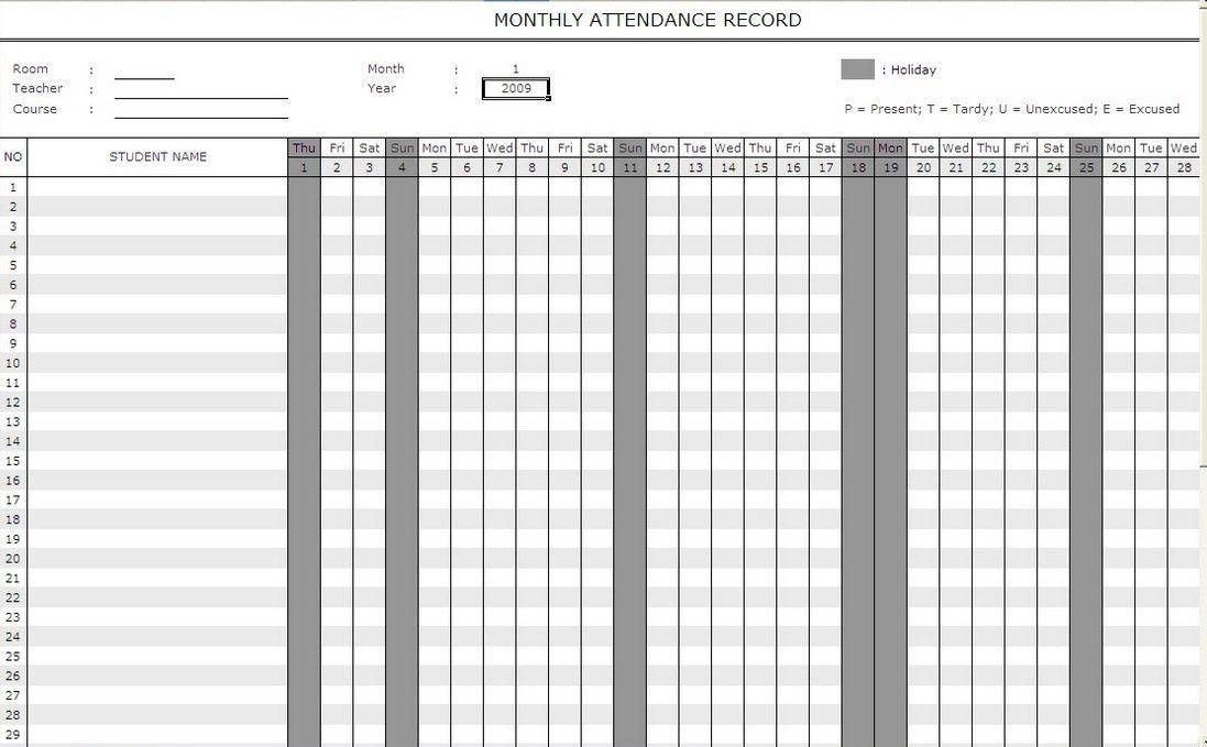 Attendance Calendar Template employee attendance calendar 2017 - attendance chart template