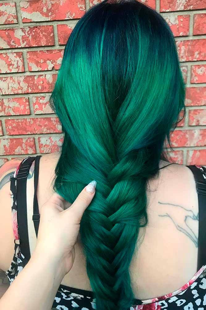 Emerald Green Hair #colorfulnails #braidedhair ★ Looking for the latest green hair ideas? In our guide, we've put together the best options to match any taste, from light pastel mint balayage on a short bob to dark and bright emerald ombre on long locks. #glaminati #lifestyle #greenhair