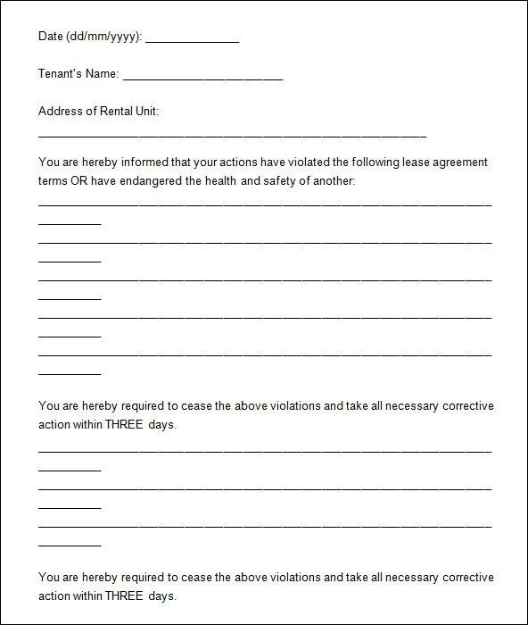 Blank Eviction Notice Form Blank Eviction Notice Form Free Word - notice form in word