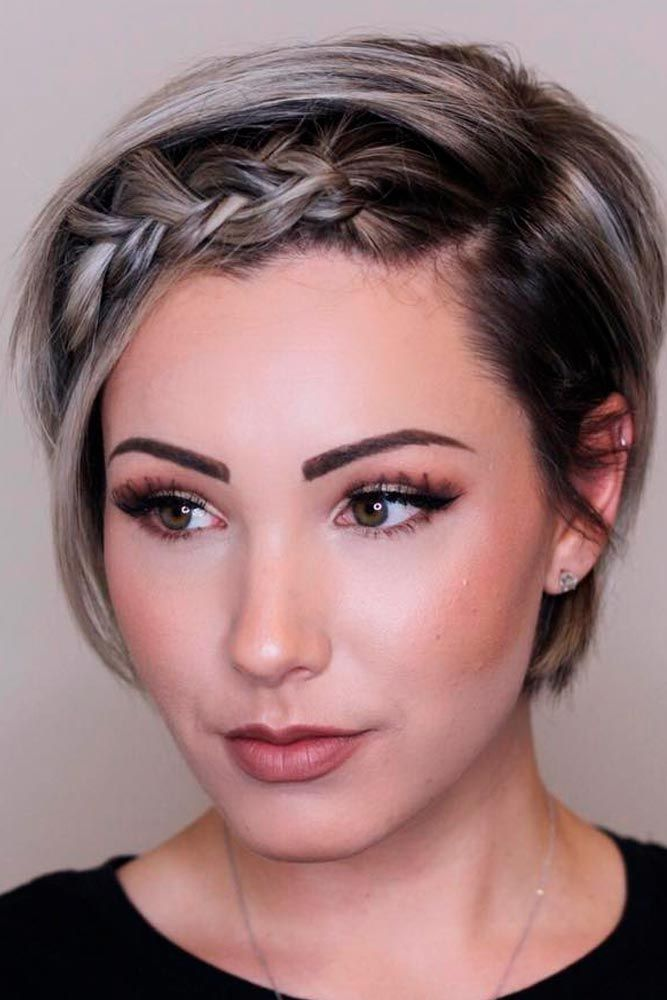 Short Bob with Braided Fringe #braidedhair #ombrehair ★ Short hairstyles for women have caused a lot of stir in 2019. Want to know what they are? You can find all of them in our exclusive photo gallery, which includes a layered bob, a messy pixie cut, cute Dutch braids and many more.  #glaminati #lifestyle #shorthairstyles