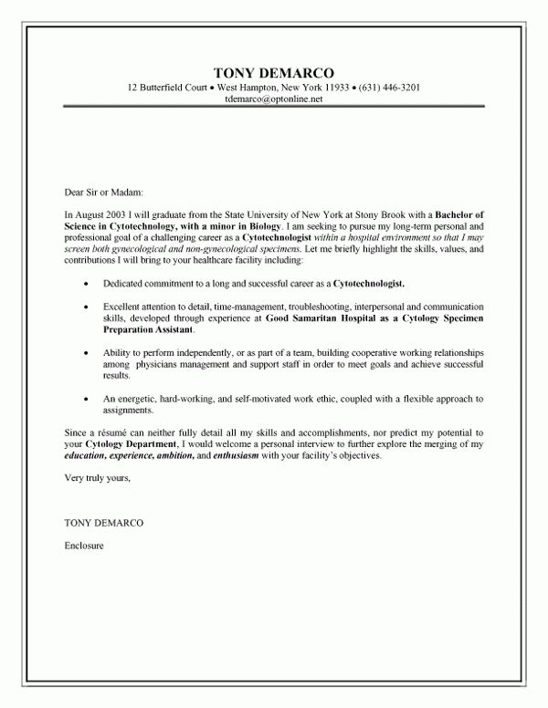 cover letter examples for cytotechnologist