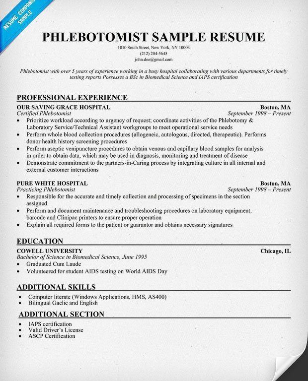 Phlebotomist Resume Example - Examples of Resumes