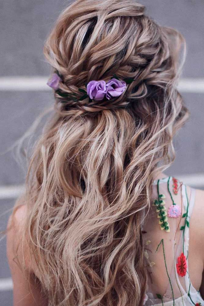 Braided Half-Up With Flowers #braidedhair #wavyhair ★ Discover trendy easy summer hairstyles 2019 here. We have pretty ideas for long, short, and for medium hair. #glaminati #lifestyle #summerhairstyles