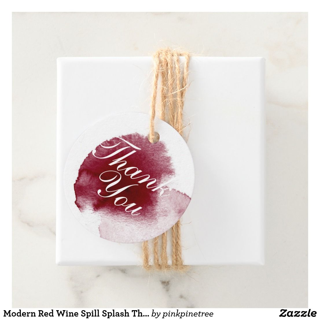 Dress up your gifts with these modern red wine spill splash thank you favor tags - perfect for vineyard wedding favors!
