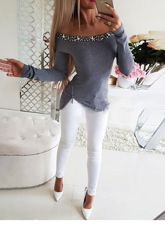 Nice grey blouse with white pants