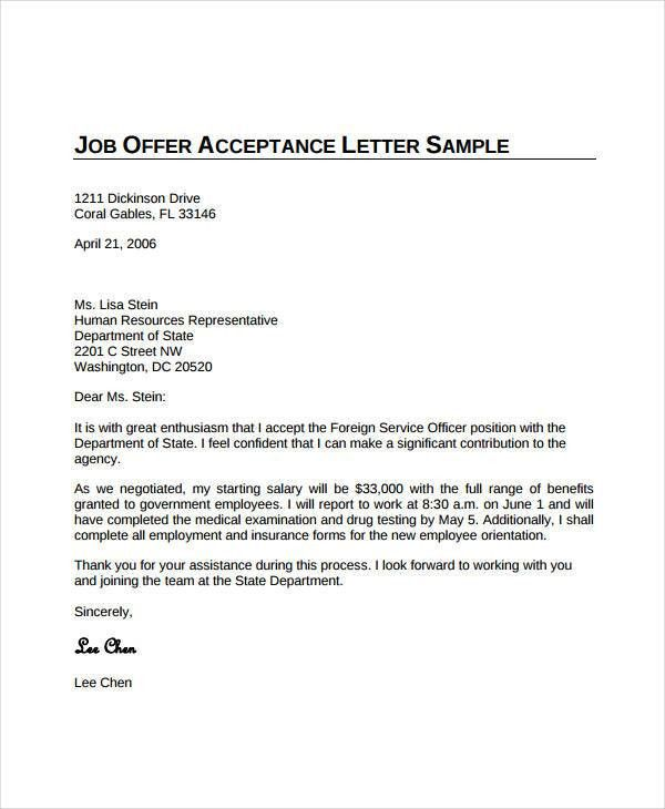 thank you for the job offer acceptance letter