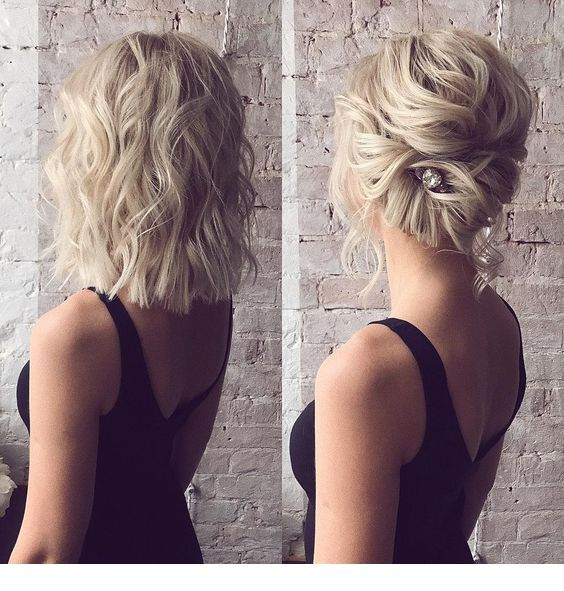 Sweet hairstyle for short blonde hair