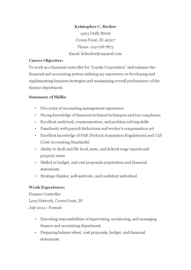 financial controller resume