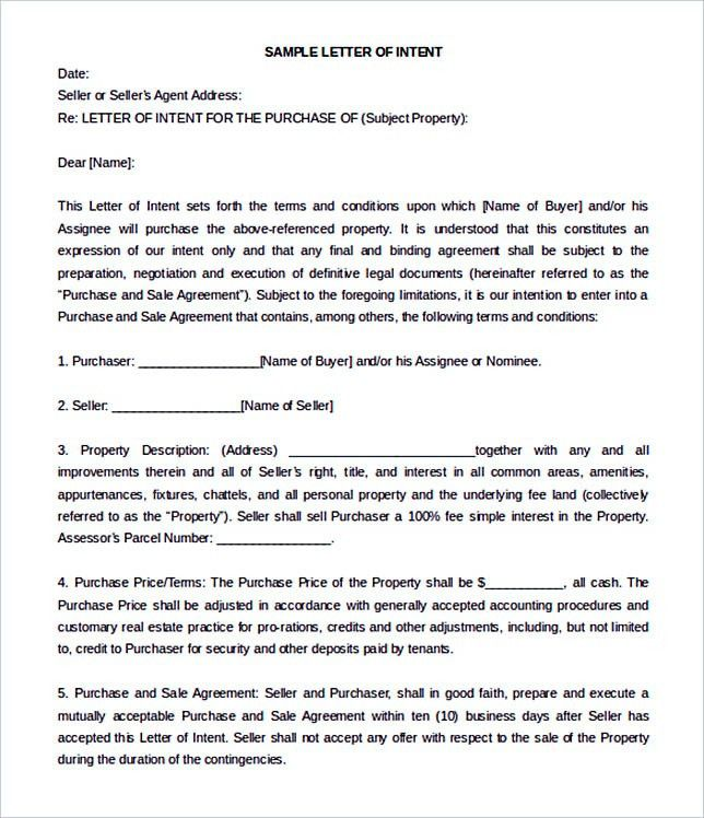 15+ Letter Of Intent Template For Both Parties  Good Faith Letter Sample