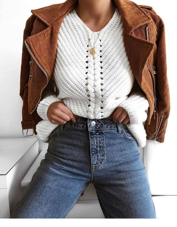 White sweater, jeans and jacket
