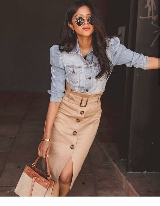 Denim shirt and brown skirt