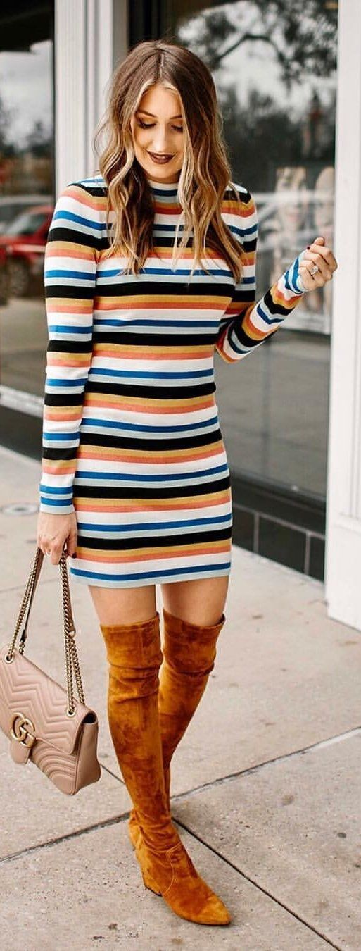 multicolored striped long-sleeved dress