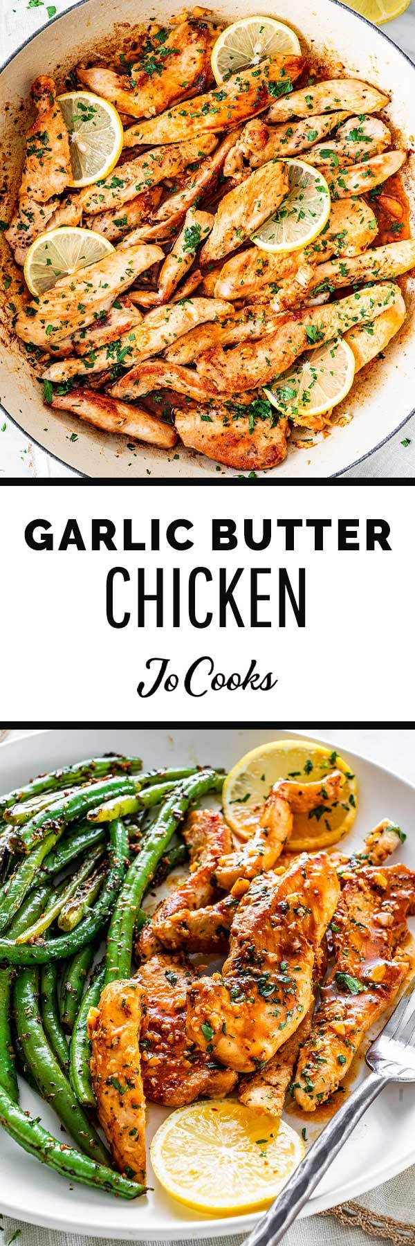 This Garlic Butter Chicken is simple and delicious! Juicy, tender, and full of flavor, this recipe is on its way to becoming your new favorite winner winner chicken dinner! #garlic #butter #chicken #20minutes #onepot