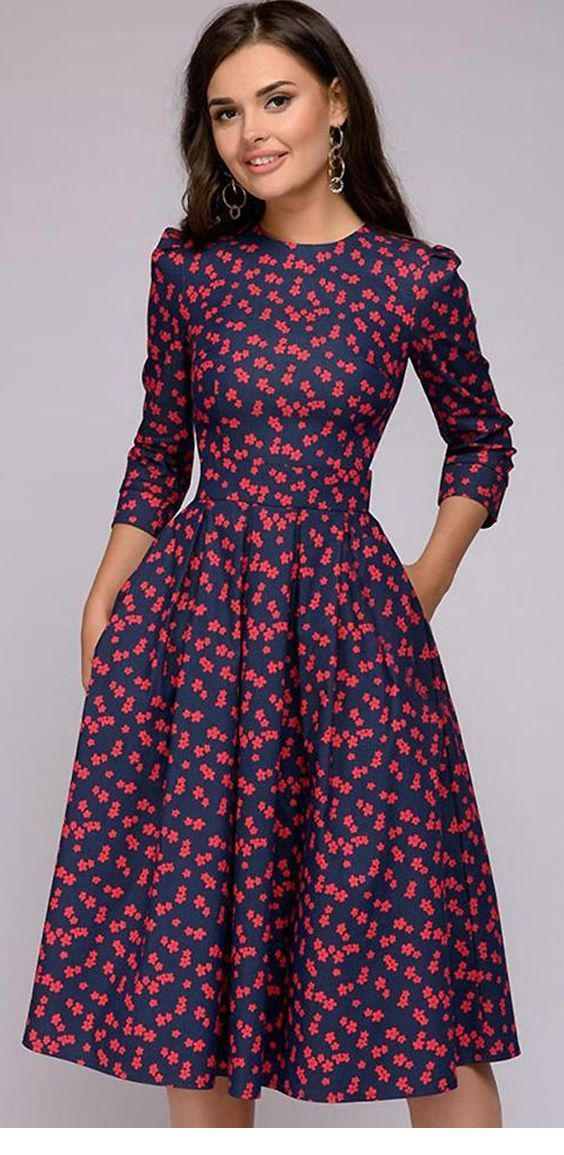 Navy dress with red flowers