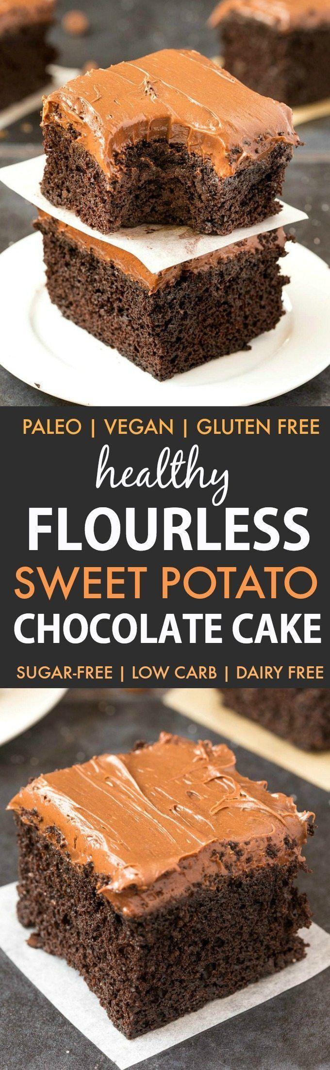 Healthy Flourless Sweet Potato Chocolate Cake (Paleo, Vegan, Gluten Free)- Moist, fudgy and dense, this easy one bowl cake recipe is perfect to enjoy dessert guilt-free with a hidden veggie! Sugar-free and dairy-free. | #healthy #healthycake #sugarfreerecipe #lowcarbrecipe #flourlesscake | Recipe on thebigmansworld.com