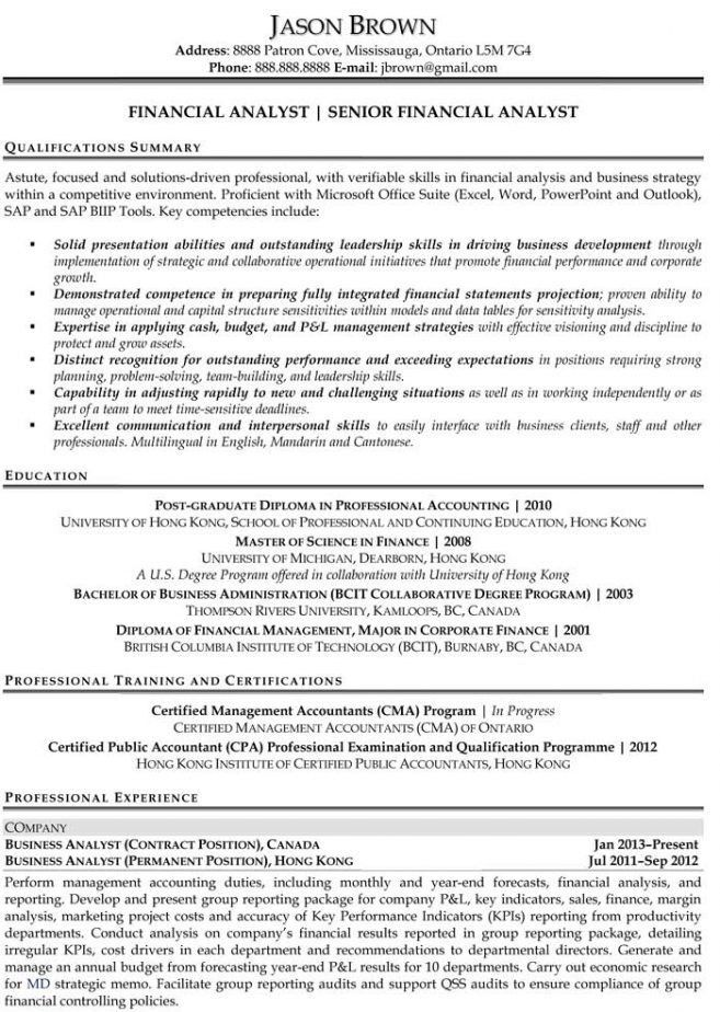 entry level business analyst resume skills